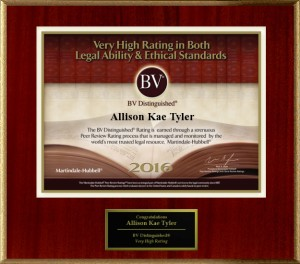 BV Distinguished - very high rating in both legal ability and ethical standards